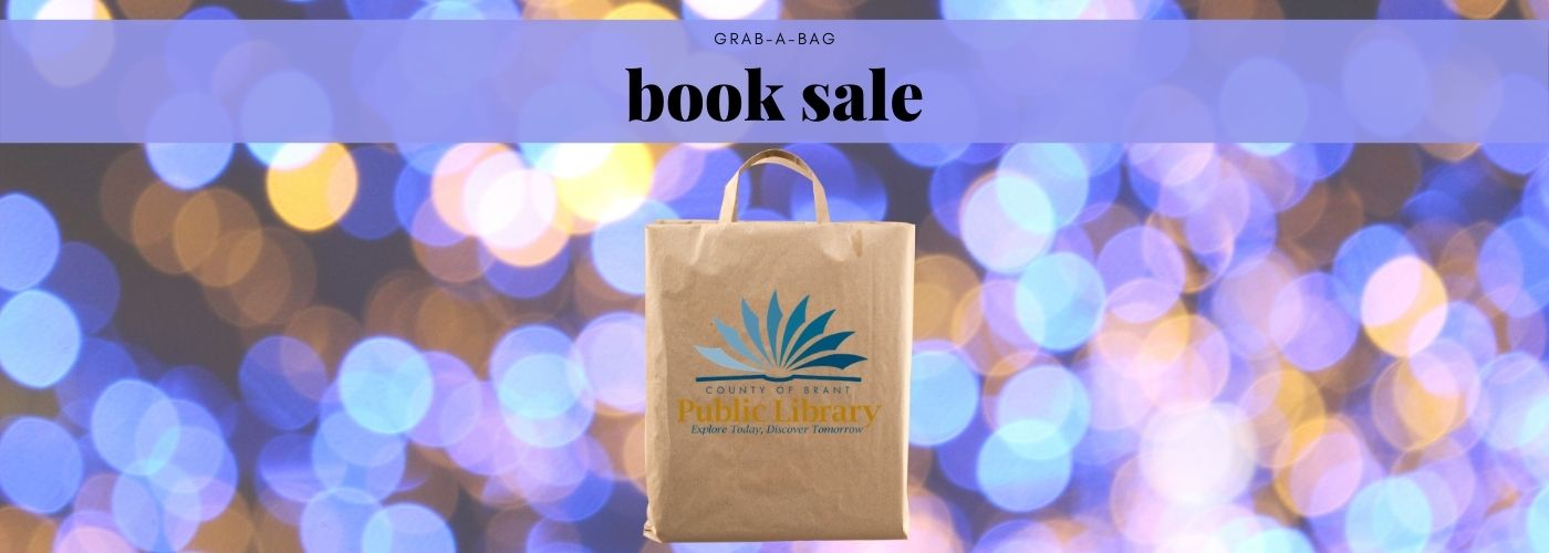 Grab a bag book sale banner image with brown bag