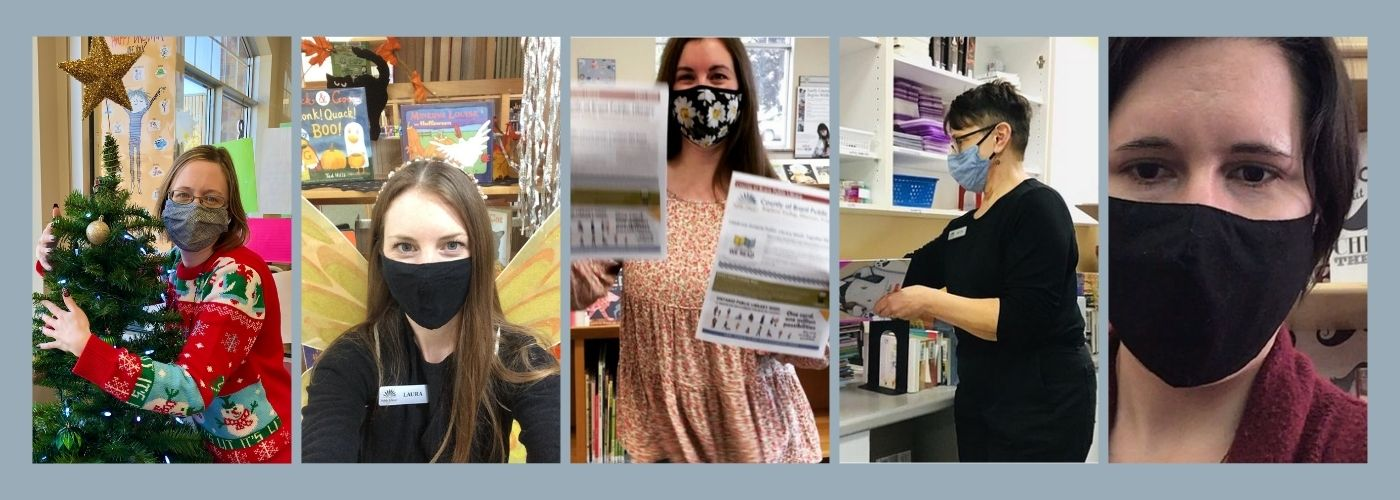 Library staff wearing face coverings for safety