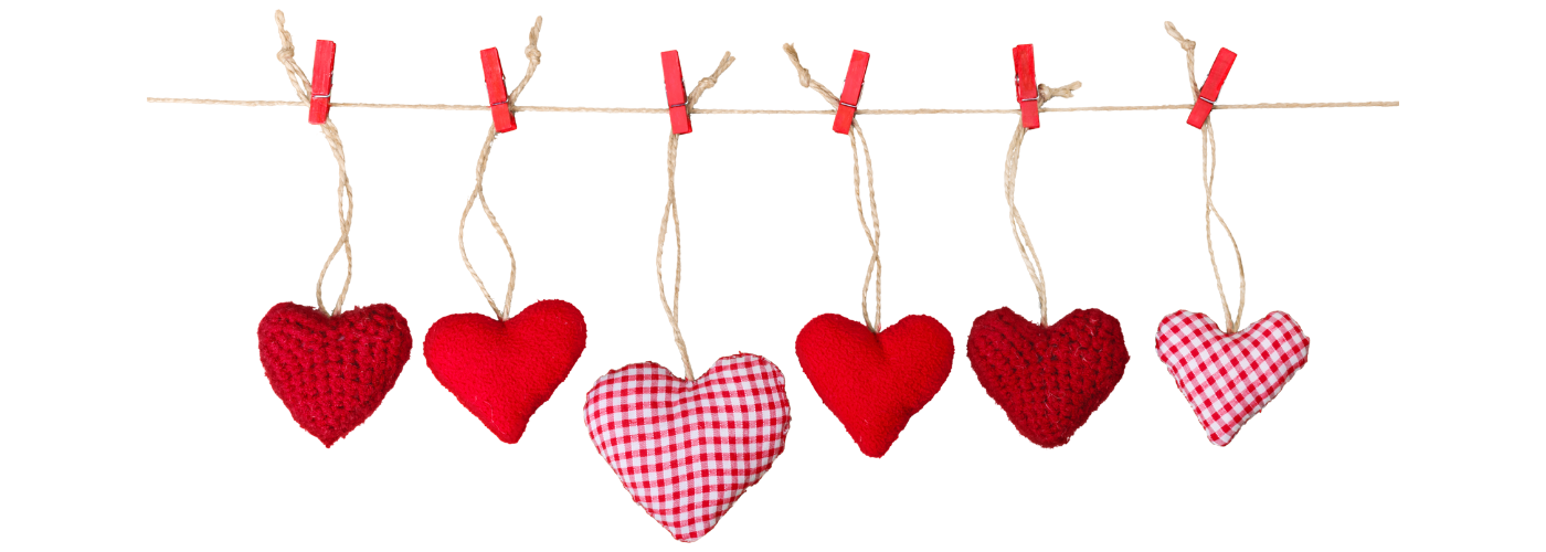 string of red fabric hearts